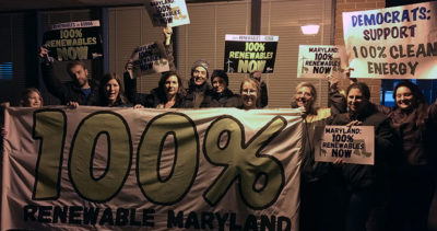 Food & Water Watch activists rally for 100% clean energy before the Maryland gubernatorial forum in Montgomery County.