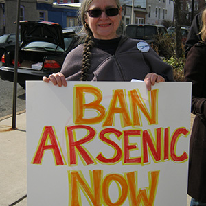 "Activist holds a sign ""Ban Arsenic Now"""