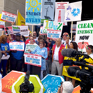 Activists march in Philadelphia for clean energy, July 2016.